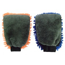 Car Wash Mitt and Car Wax Mitt - Microfiber Double Sided,Chenille Sponge and Polishing Cloth,Super Absorbent,Scratch Free,Universal Size