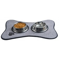 Microfiber Pet Bowl Mat Food Mat with Embroidered Paw Print