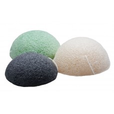 Konjac Sponge Facial Cleansing Sponge for Natural Exfoliating and Deep Pore Cleansing Pack of 3 Charcoal Black ,Natural White and Green Tea