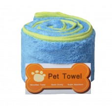 "Thick Microfiber Pet Towel Bath Towel Dry Towel with Embroidered Paw Print 16""x40"" Light blue"